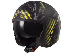 Casco Ls2 OF599 Spitfire Garage Negro Mate / Amarillo