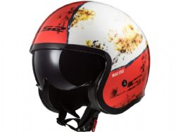Casco Ls2 OF599 Spitfire Rust Blanco / Rojo