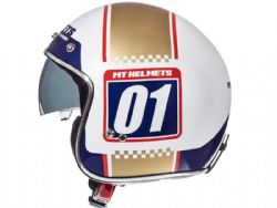 Casco Mt Le Mans 2 Sv Numberplate A0 Brillo Oro Perla