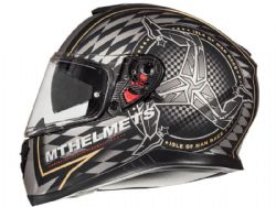 Casco Mt Thunder 3 Sv Isle of man Negro Mate Oro
