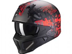 Casco Scorpion Covert-X Wall Plata Oscuro Mate / Rojo