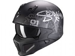 Casco Scorpion Covert-X Xborg Negro Mate / Plata