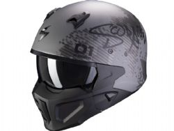 Casco Scorpion Covert-X Xborg Plata Mate / Negro