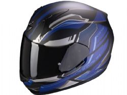 Casco Scorpion Exo-390 Boost Negro Mate / Plata / Azul