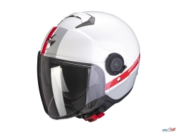 Casco Scorpion Exo-City Strada Blanco / Plata / Rojo
