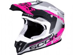 Casco Scorpion Vx-16 Air Arhus Plata Mate / Negro / Rosa
