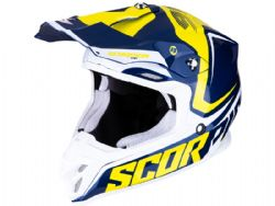 Casco Scorpion Vx-16 Air Ernee Azul / Amarillo / Blanco