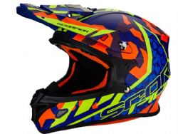 Casco Scorpion Vx-21 Air Furio Azul / Rojo / Amarillo
