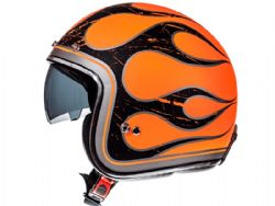 Casco Mt Le Mans 2 Sv Flaming A0 Brillo Naranja Fluor