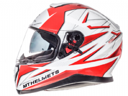 Casco Mt Thunder 3 Sv Effect Blanco-Rojo