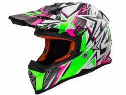 Casco Ls2 MX437 Fast Strong Blanco-Verde-Rosa