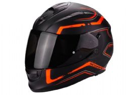 Casco Scorpion Exo-510 Air Radium Negro Mate / Naranja