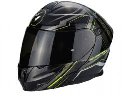 Casco Scorpion Exo-920 Satellite Negro Metal Amarillo
