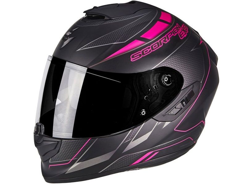 Casco Scorpion Exo-1400 Air Cup Negro Mate / Camaleon Rosa