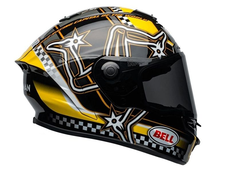 Casco Bell Star Isle Of Man Negro Amarillo Mips
