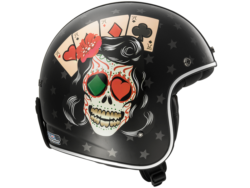 Casco Ls2 OF583 Bobber Tattoo Negro