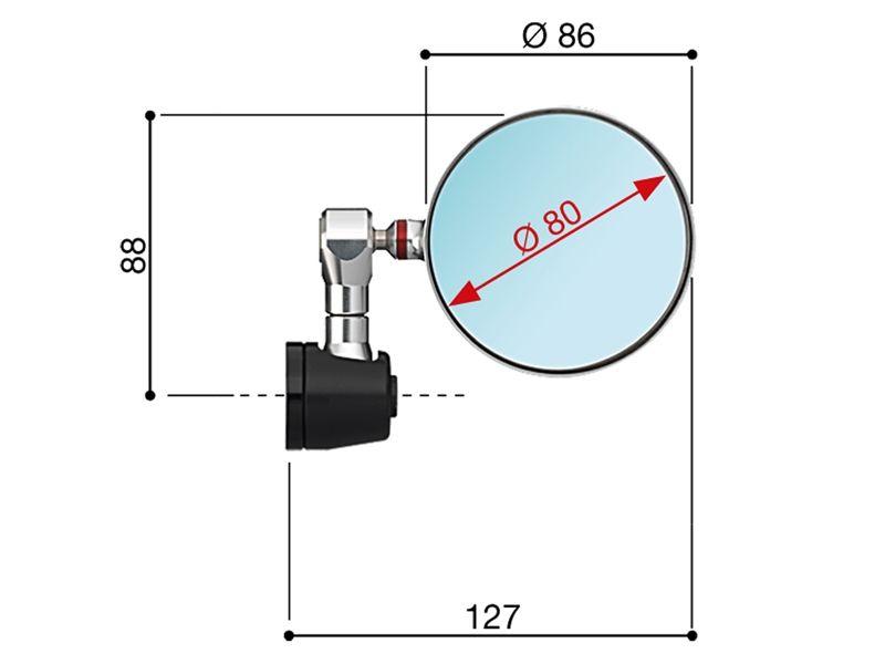di/ámetro: 94,5 mm Espejo retrovisor para motocicleta Rizoma BS294B M6 Spy-R color negro