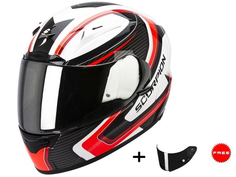 Casco Scorpion Exo-2000 Evo Air Carb Blanco-Rojo